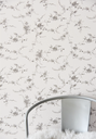 Wallpaper / wall paper - Flowers - French grey