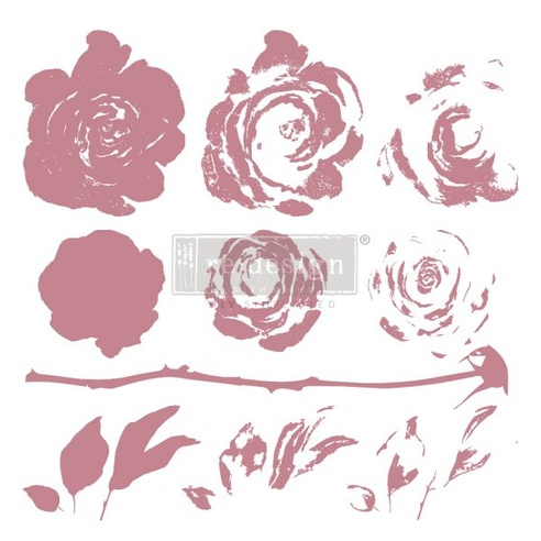 Redesign Decor Clear-Cling Stamps - Mystic Rose
