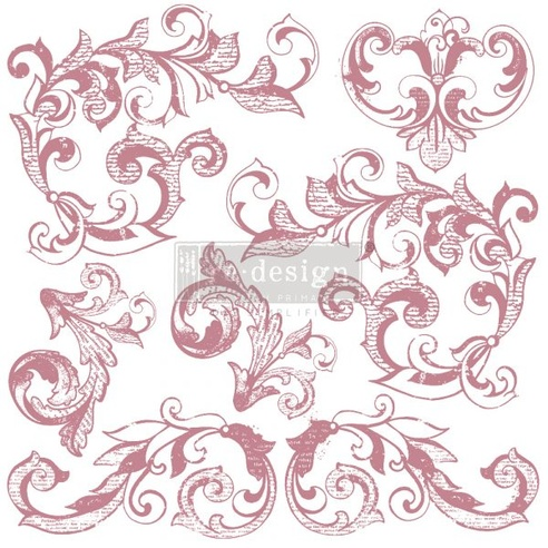 Redesign Decor Clear-Cling Stamps - Elegant Scrolls