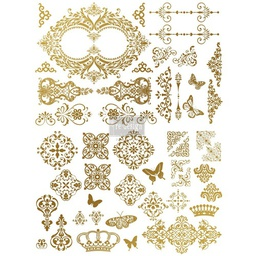 [655350635695] Redesign Gold Transfer - Gilded Baroque Scrollwork